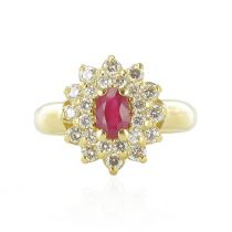 Bague marguerite rubis et diamants