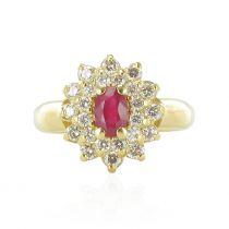 Bague marguerite rubis et diamants