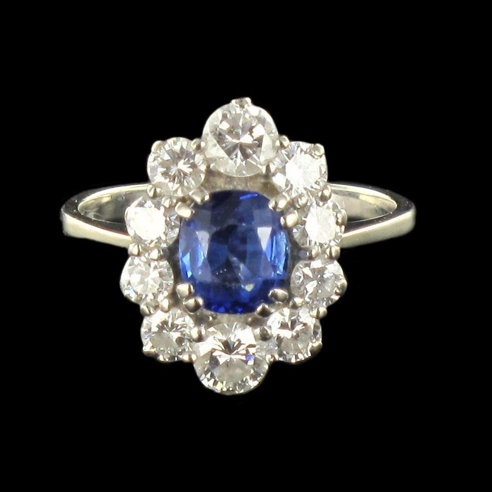 Bague marguerite saphir diamants or blanc
