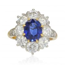 Bague marguerite saphir diamants or platine