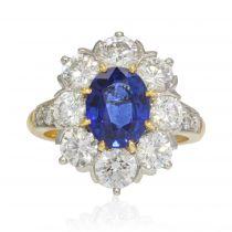 Bague marguerite saphir diamants or platine
