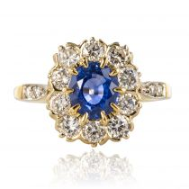 Bague marguerite saphir diamants