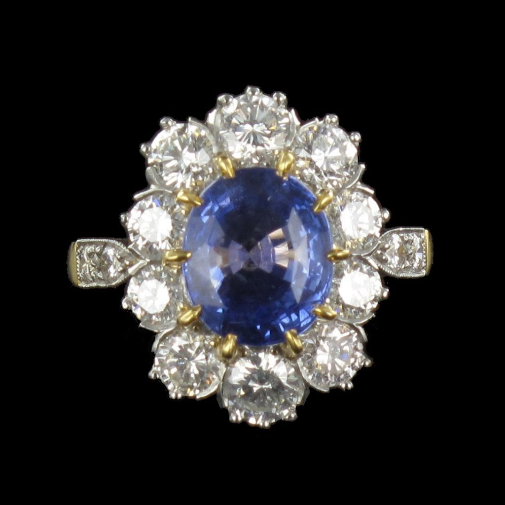 Bague marguerite Saphir et Diamants G 27