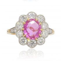 Bague marguerite saphir rose diamants or platine