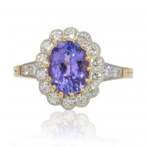Bague marguerite tanzanite diamants or platine