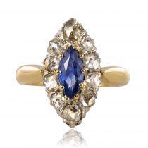 Bague marquise diamants saphir ancienne