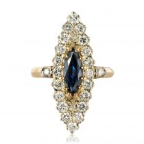 Bague marquise diamants saphir
