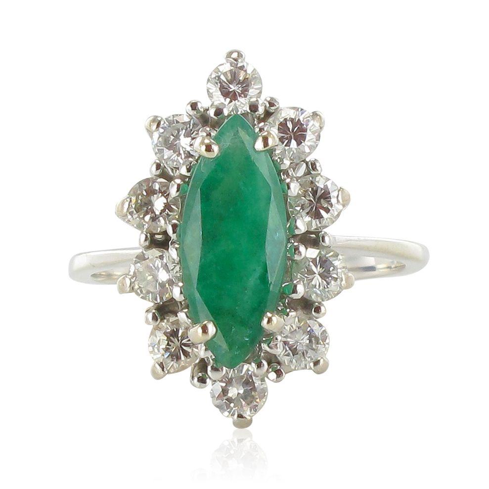 Populaire Bague marquise émeraude diamants - Bijouxbaume LM08