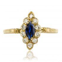 Bague marquise saphir diamants