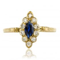 Bague marquise saphir diamants
