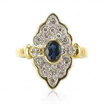 Bague marquise Saphir et diamants