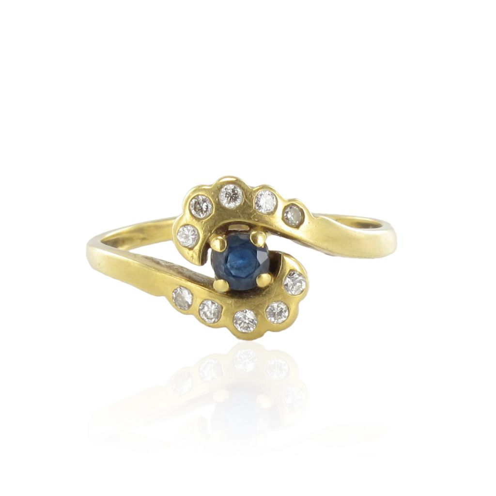 Bague moderne saphir et diamants tourbillon