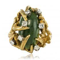 Bague moderniste jade et diamants