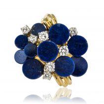 Bague moderniste lapis lazuli et diamants