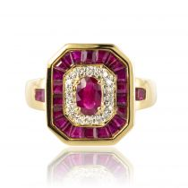 Bague occasion rubis diamants