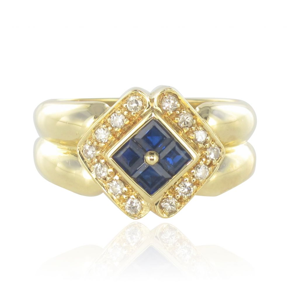 Ring Occasion Sapphires Diamonds Yellow gold Modern Classic