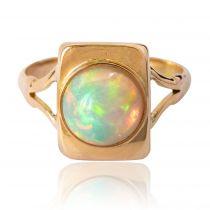 Bague opale et or rectangulaire