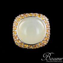 Bague opale et saphirs jaunes