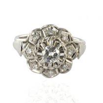 Bague or blanc diamants art déco