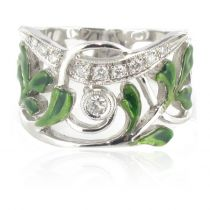 Bague or blanc diamants email