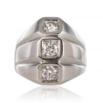 Bague or blanc diamants moderniste