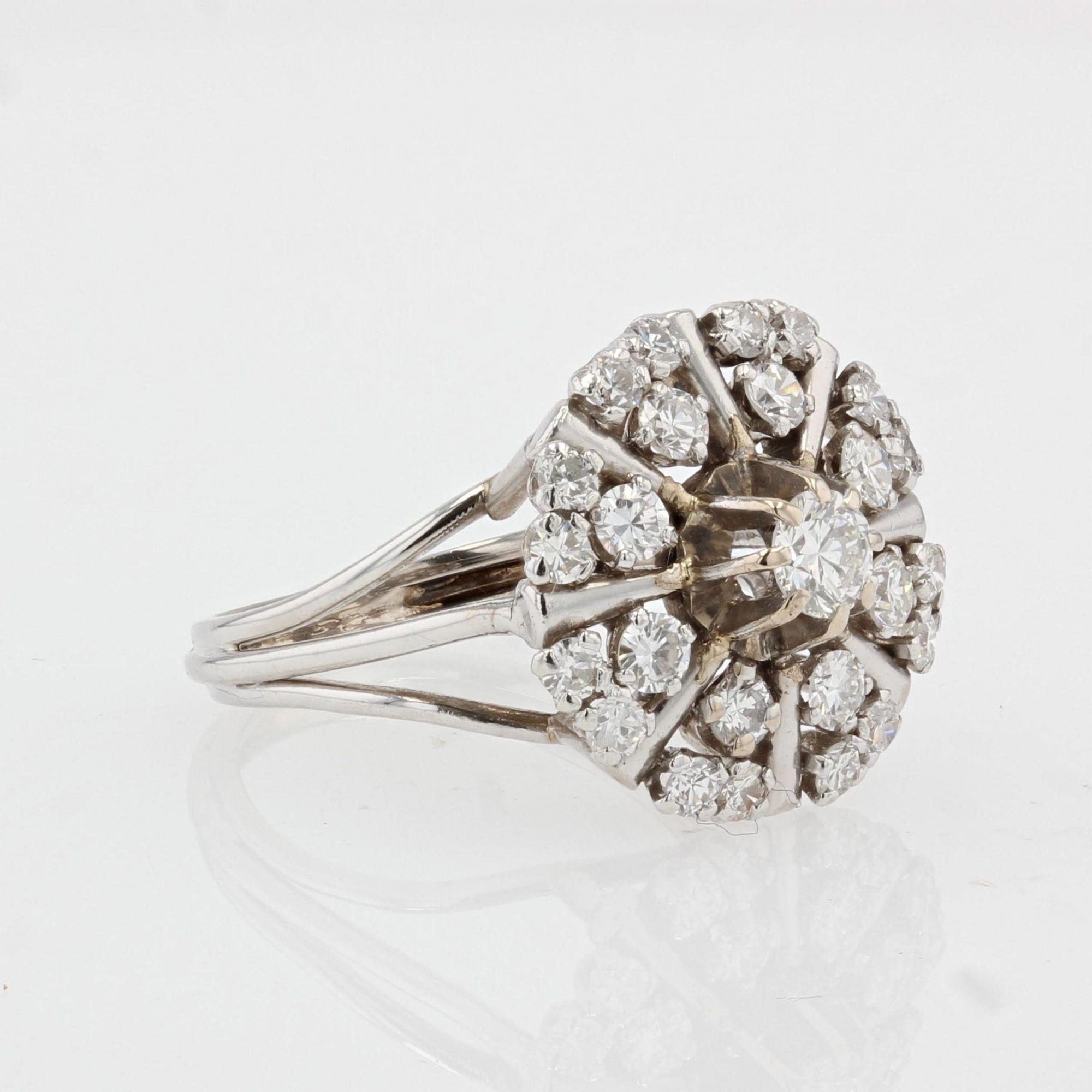 Bague or blanc et diamants vintage