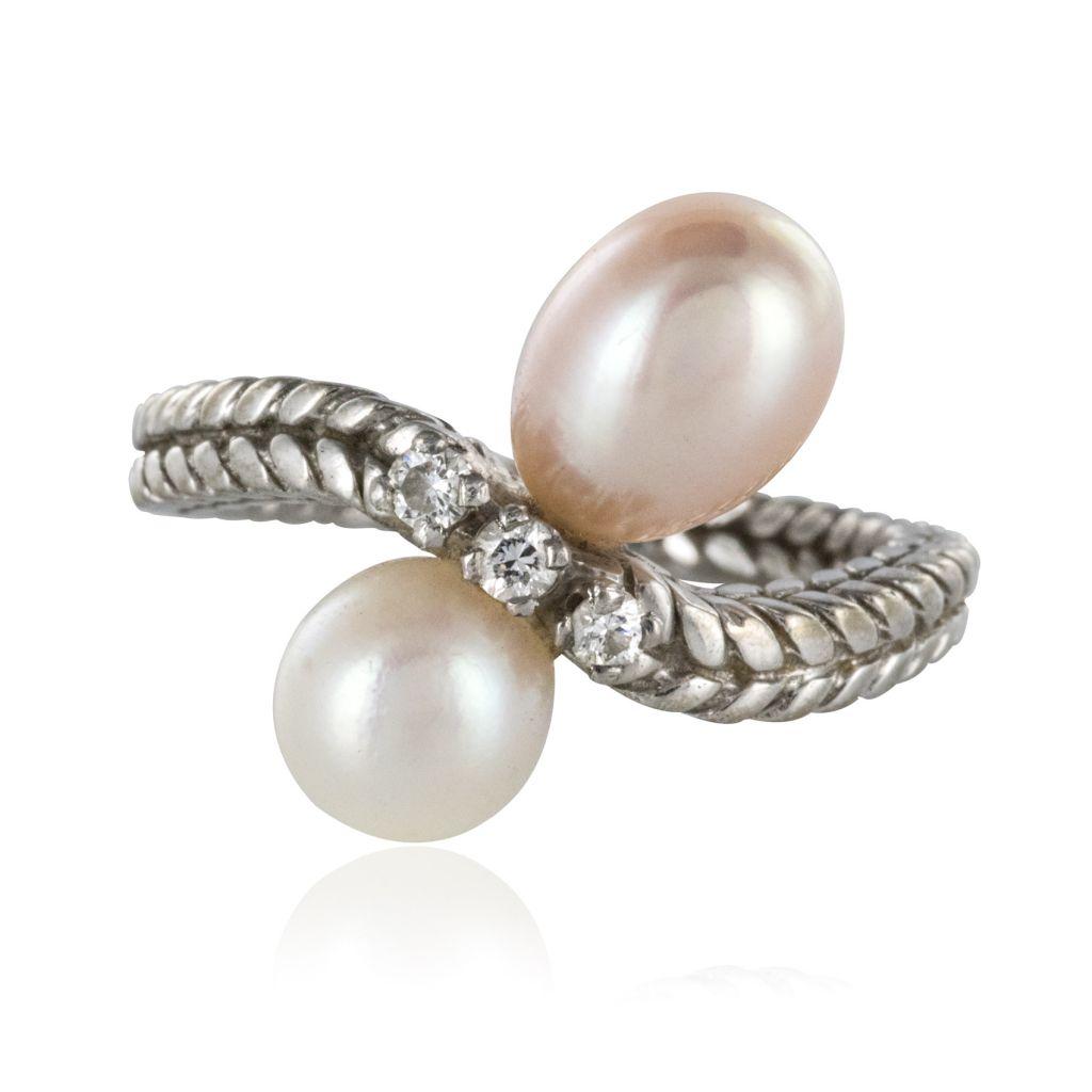 Bague or blanc et perles vintage