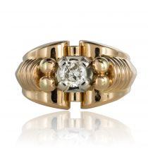Bague or et diamants rétro