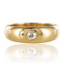 Bague or jaune diamant jonc homme