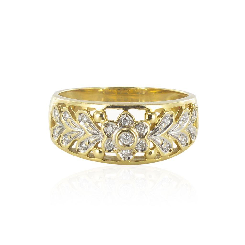 Bague or jaune diamants décor floral