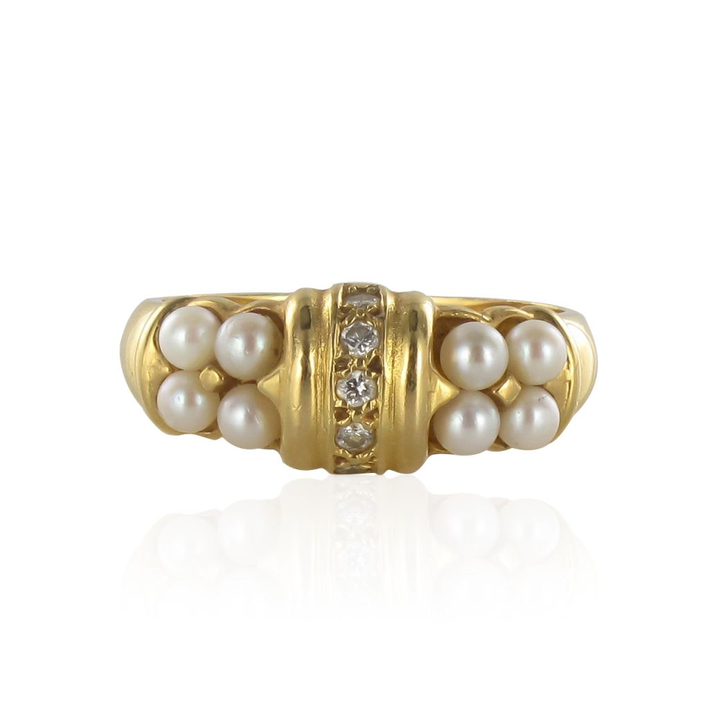 Bague or jaune perles et diamants