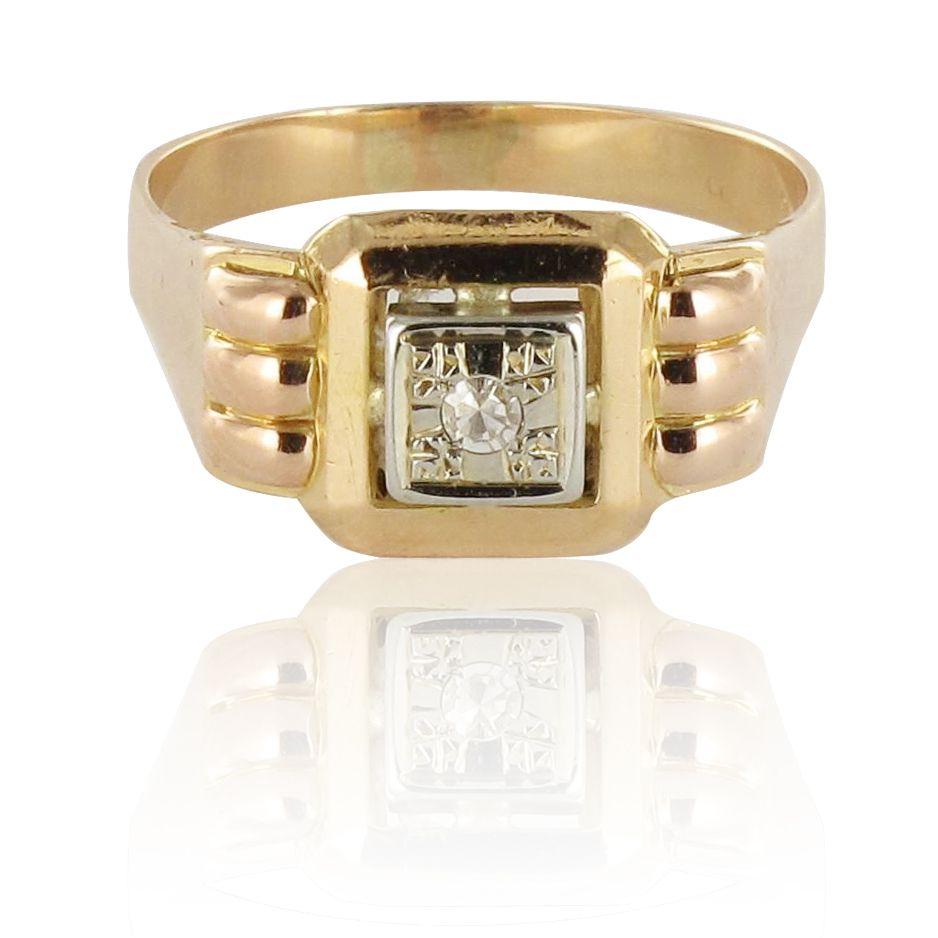 Bague or jaune saphir blanc années 50