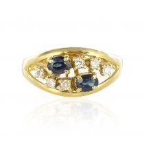 Bague or jaune saphirs diamants
