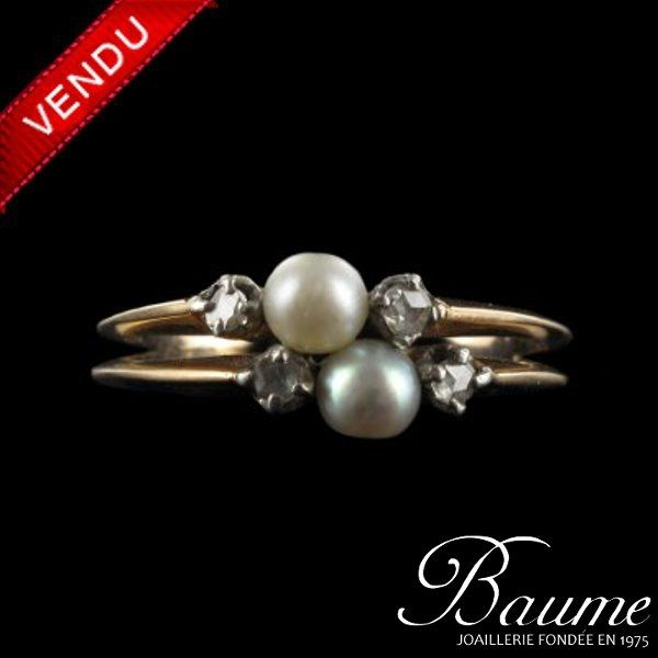 Bague or rose, Perles & Diamants