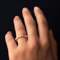 Bague or rose satiné diamants