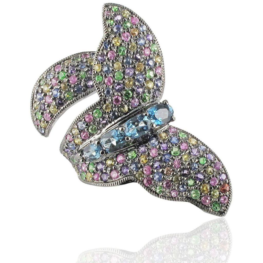 Bague papillon pierres précieuses