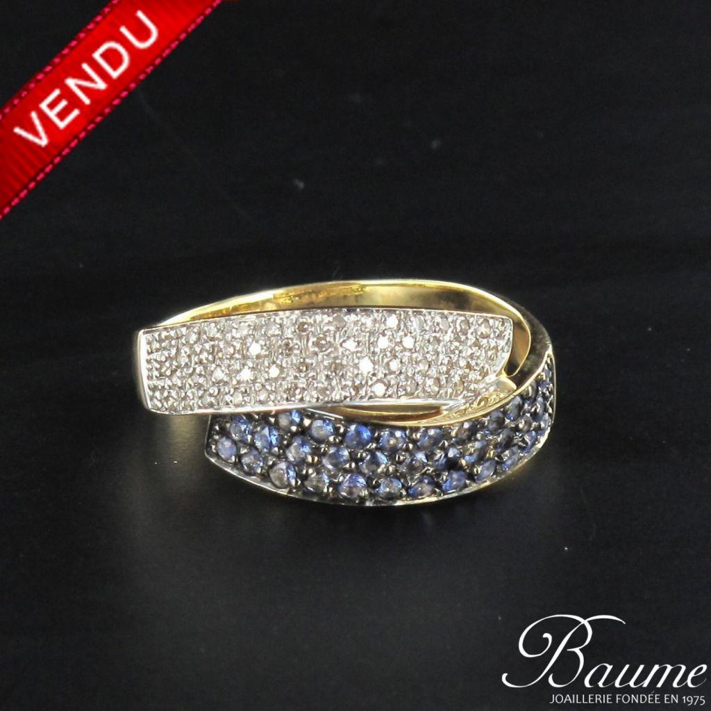 Bague pavage diamants et saphirs