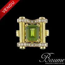 Bague Péridot, diamants et grenats