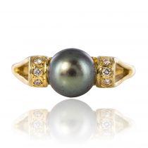 Bague perle de tahiti or jaune diamants
