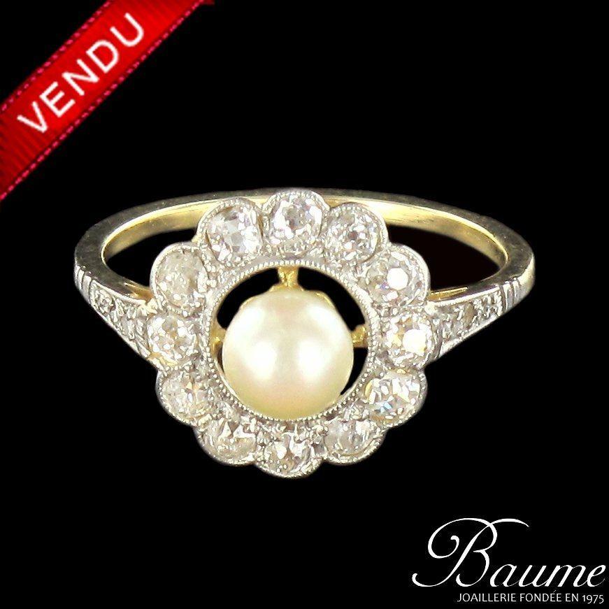 Bague perle et diamants marguerite