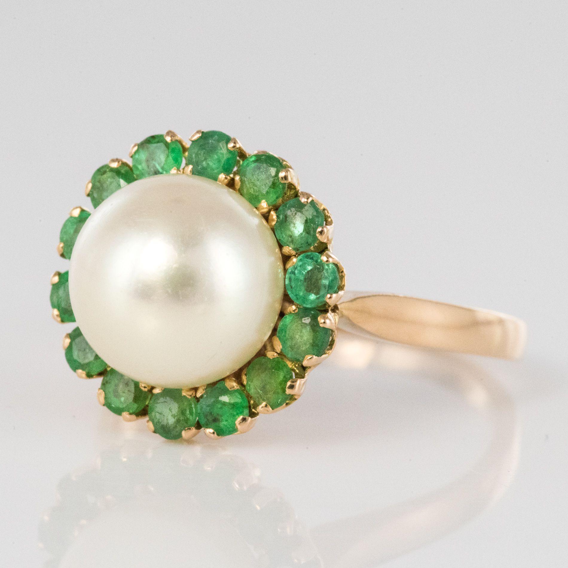 Bague perle et émeraudes