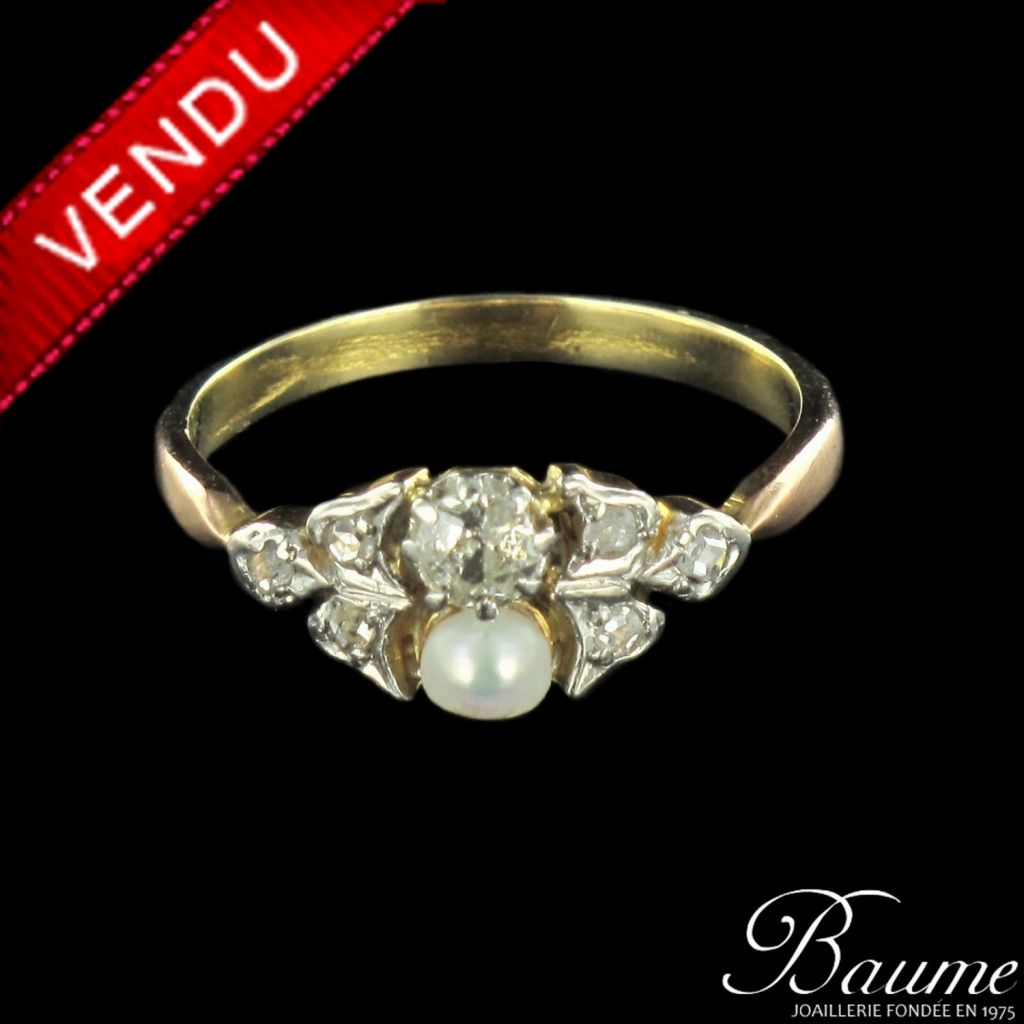 Bague perle fine, diamants