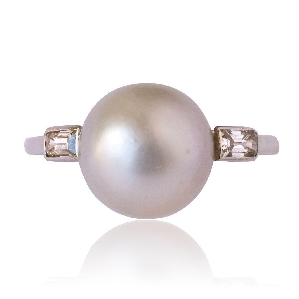 Bague perle fine et diamants baguettes