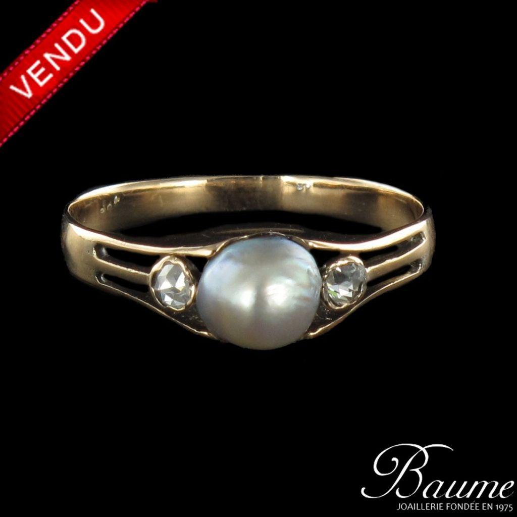 Bague perle fine et diamants