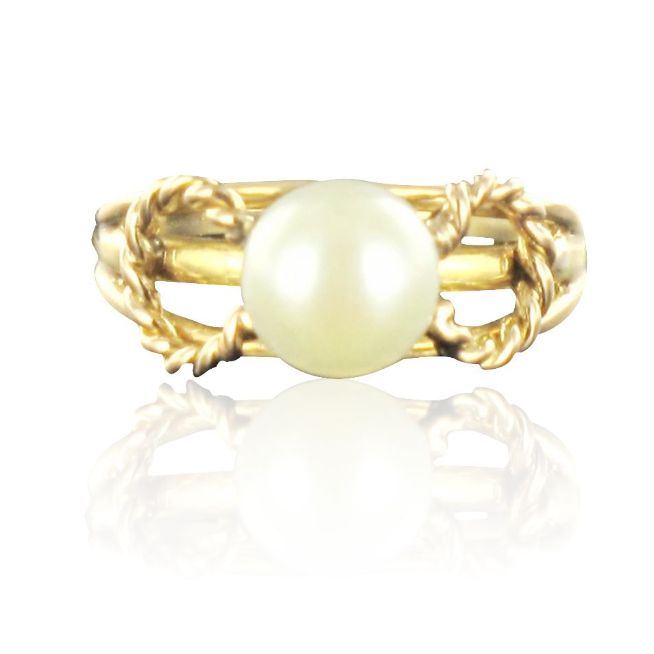 Bague perle torsades d 'or