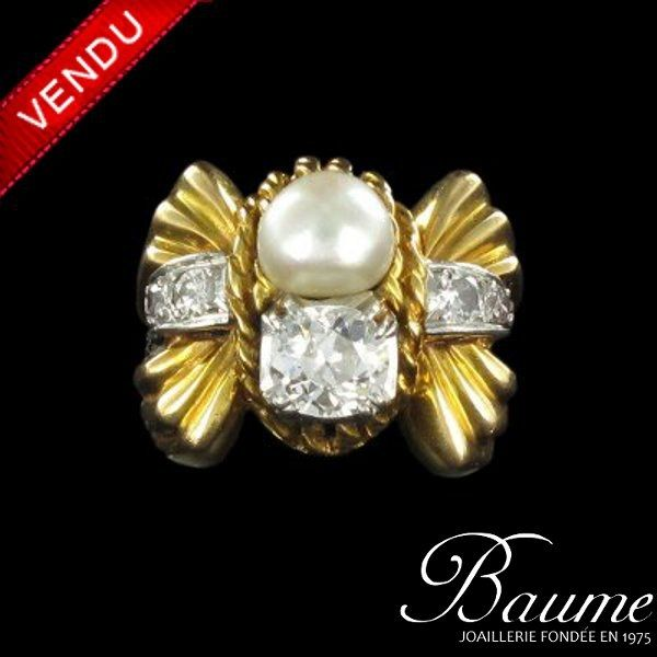Bague Perles et Diamants