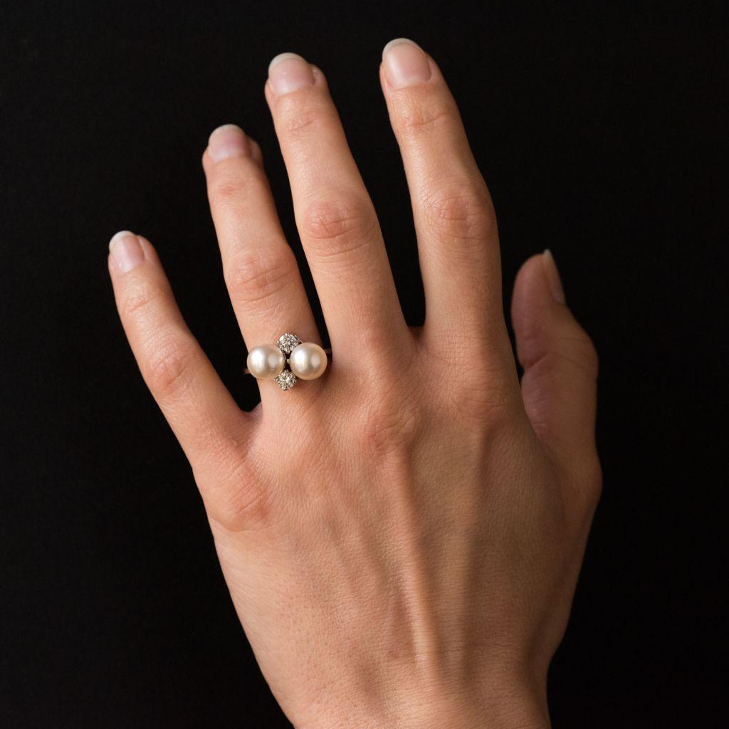 Bague perles et diamants toi et moi