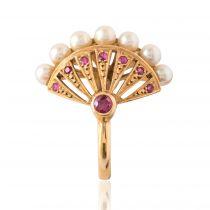 Bague perles rubis dôme