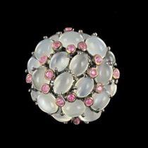Bague pierres de lune saphirs roses