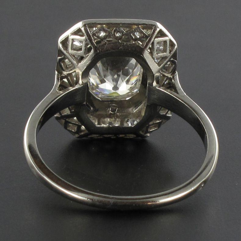 Bague platine diamant art déco